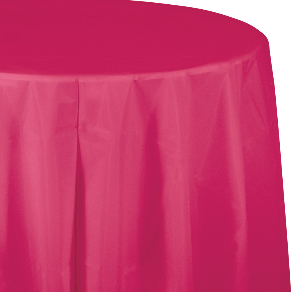 Bright Pink Plastic Round Tablecover 213cm