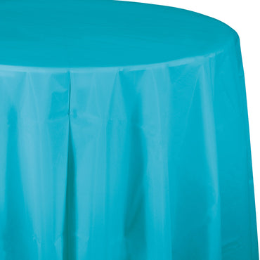 Caribbean Blue Plastic Round Tablecover 213cm