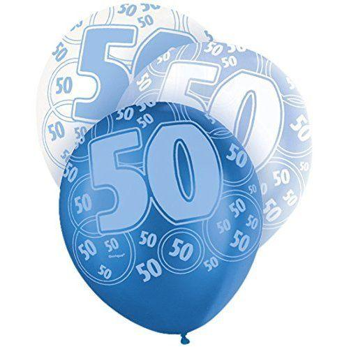 Blue Glitz 50th Birthday Latex Balloons 30cm 6pk