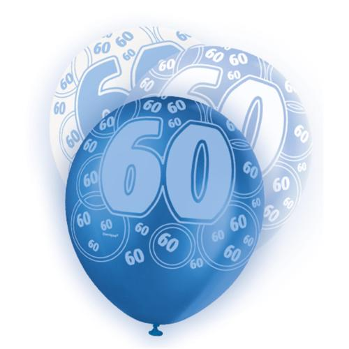 Blue Glitz 60th Birthday Latex Balloons 30cm 6pk