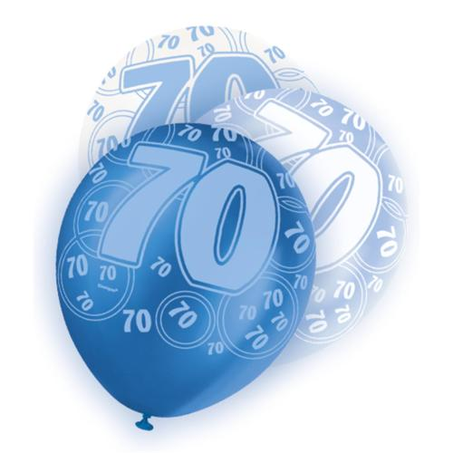 Blue Glitz 70th Birthday Latex Balloons 30cm 6pk