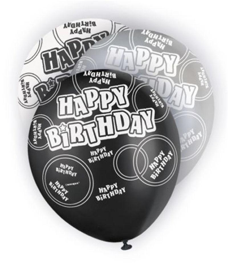 Black Glitz Happy Birthday Latex Balloons 30cm 6pk