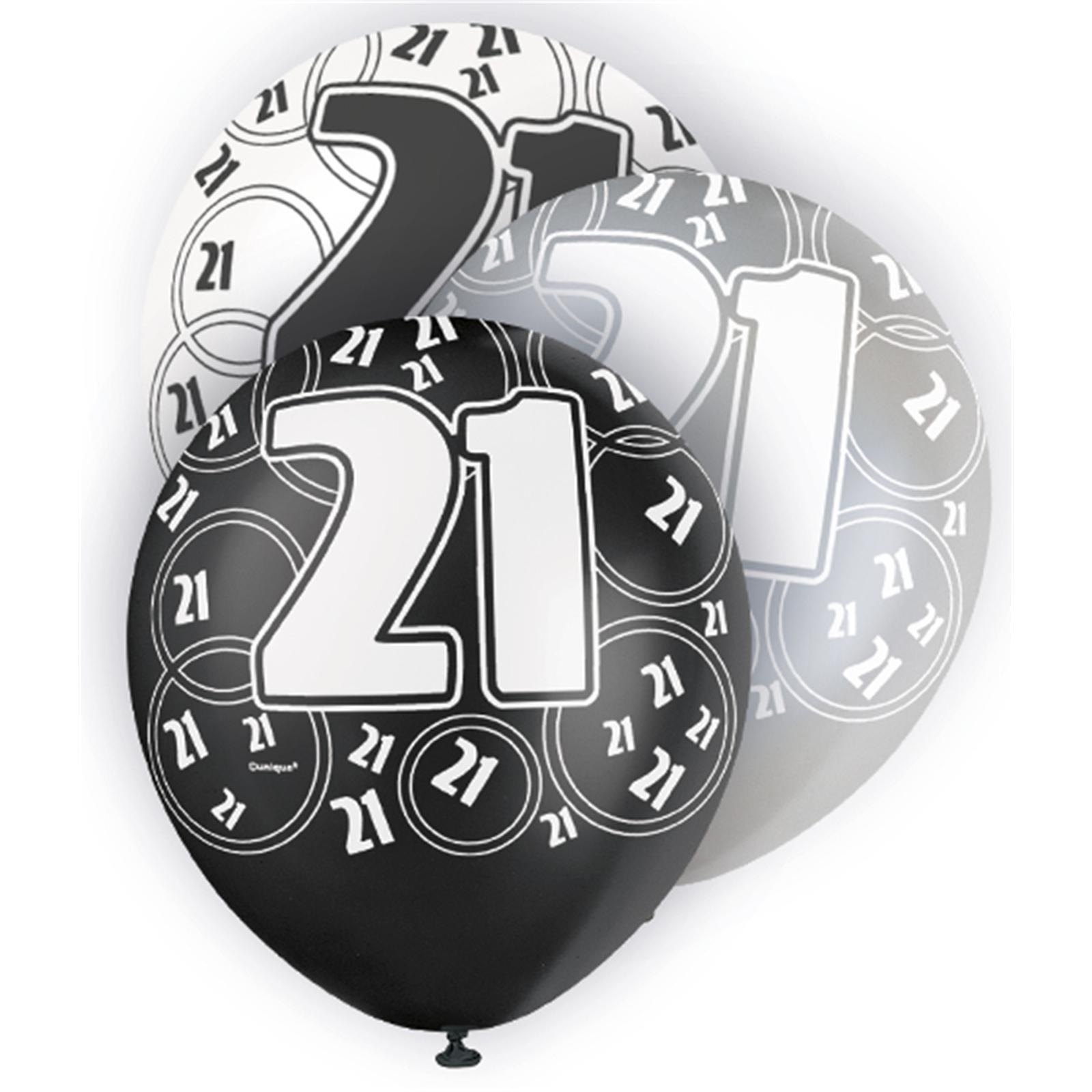 Black Glitz 21st Birthday Latex Balloons 30cm 6pk