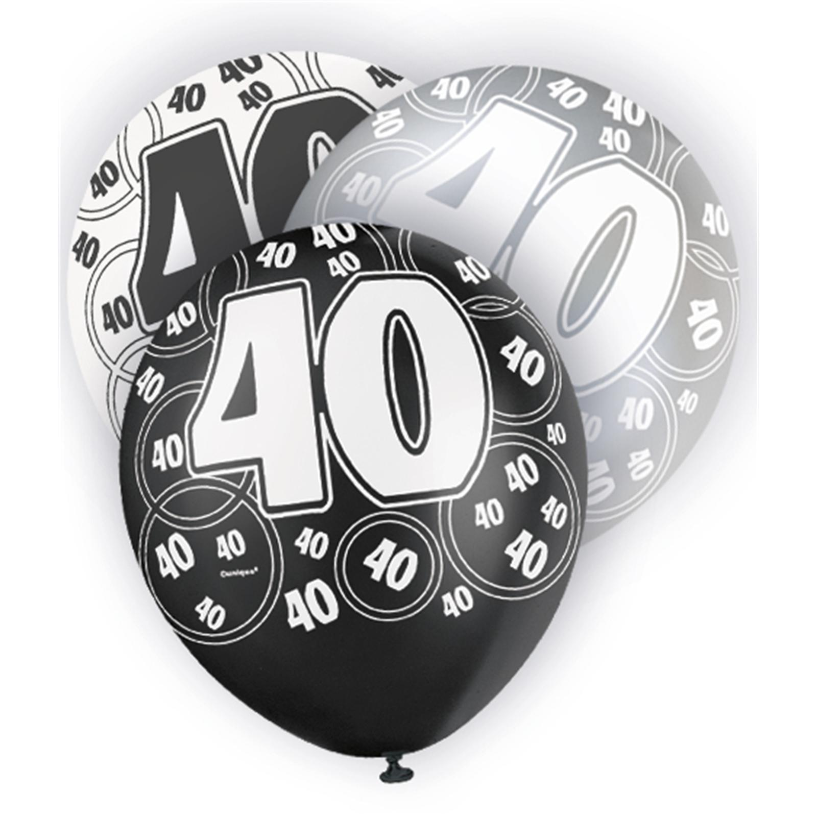 Black Glitz 40th Birthday Latex Balloons 30cm 6pk