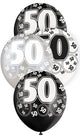 Black Glitz 50th Birthday Latex Balloons 30cm 6pk