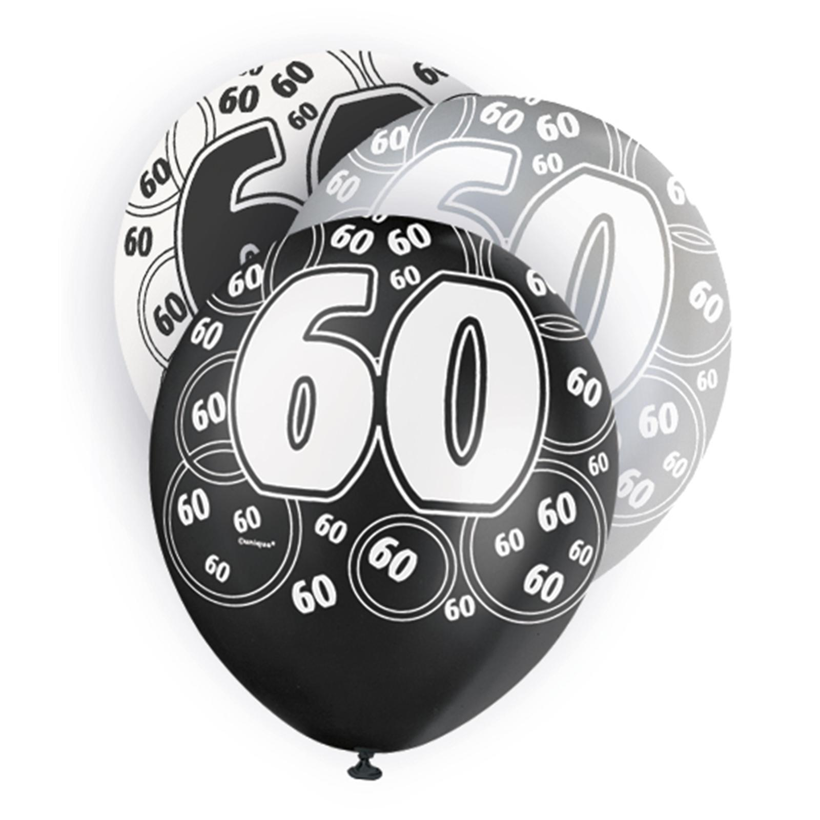 Black Glitz 60th Birthday Latex Balloons 30cm 6pk