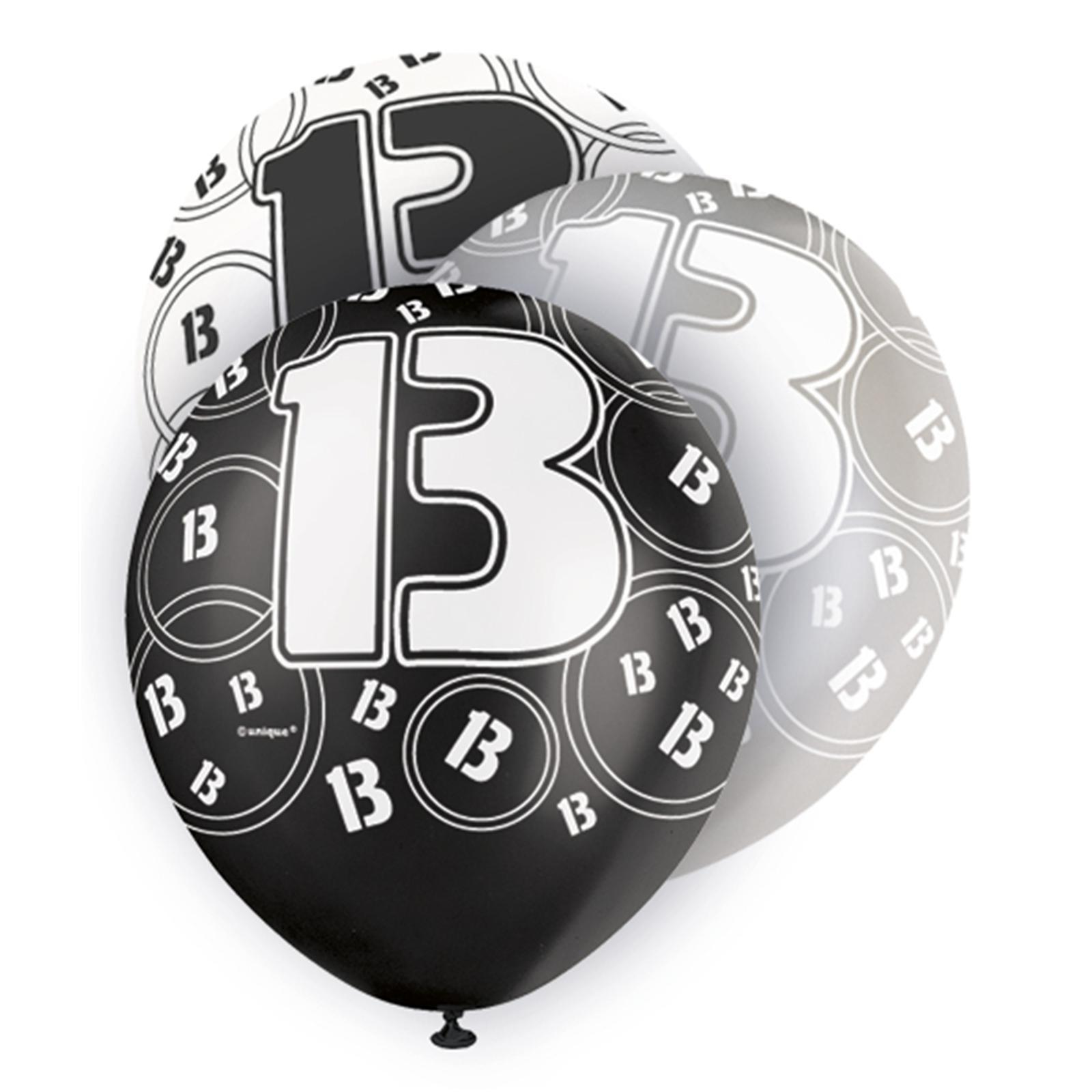 Black Glitz 13th Birthday Latex Balloons 30cm 6pk