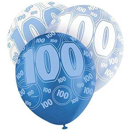 Blue Glitz 100th Birthday Latex Balloons 30cm 6pk