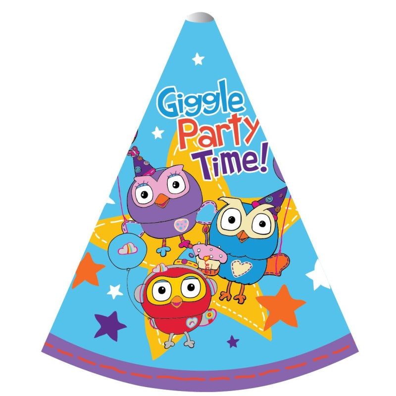 Giggle and Hoot Paper Cone Hats 15cm 8pk - Party Savers