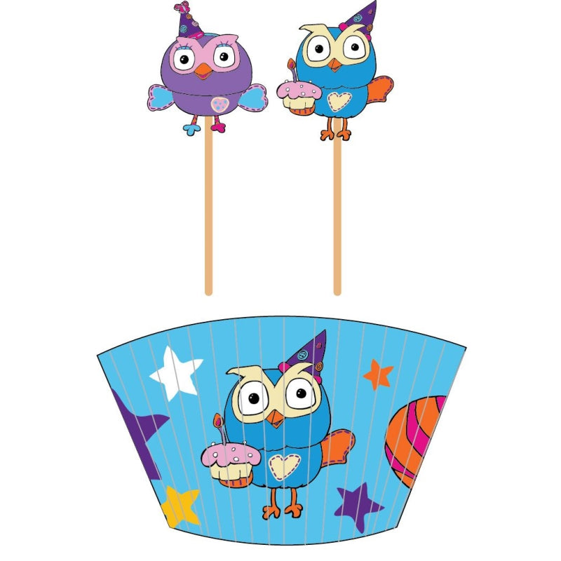 Giggle and Hoot Cupcake Cases and Picks 48pk - Party Savers