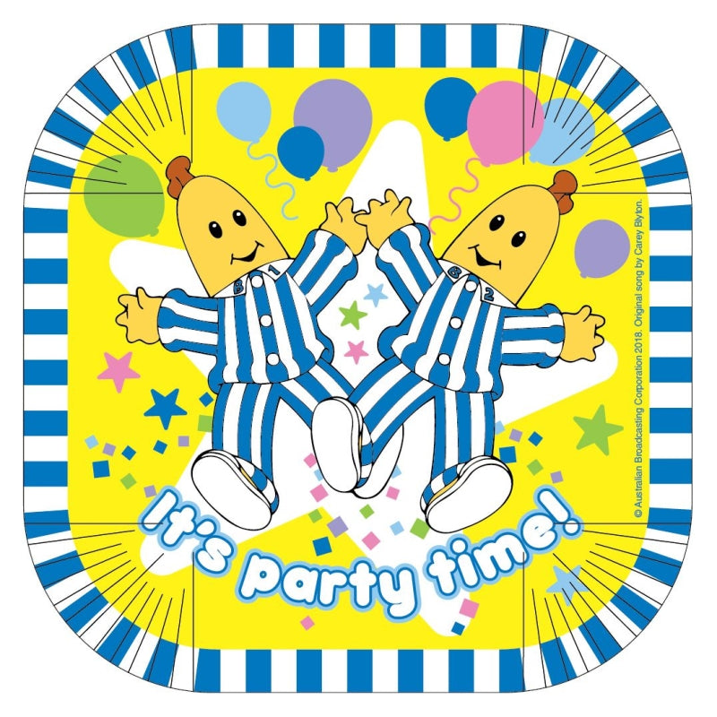 Bananas in Pyjamas Square Plates 17cm 8pk - Party Savers