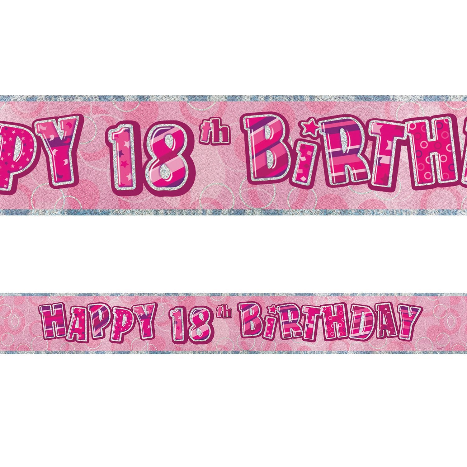 Black Glitz 18th Birthday Foil Banner 3.6m