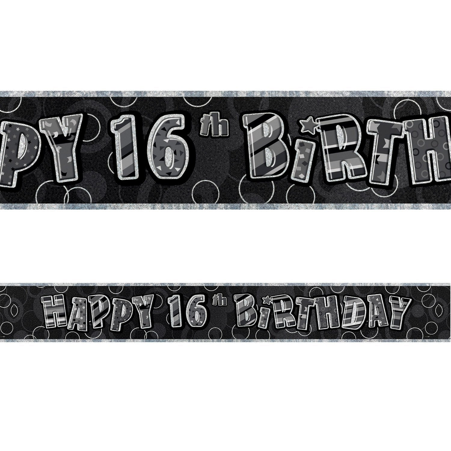 Black Glitz 16th Birthday Foil Banner 3.6m