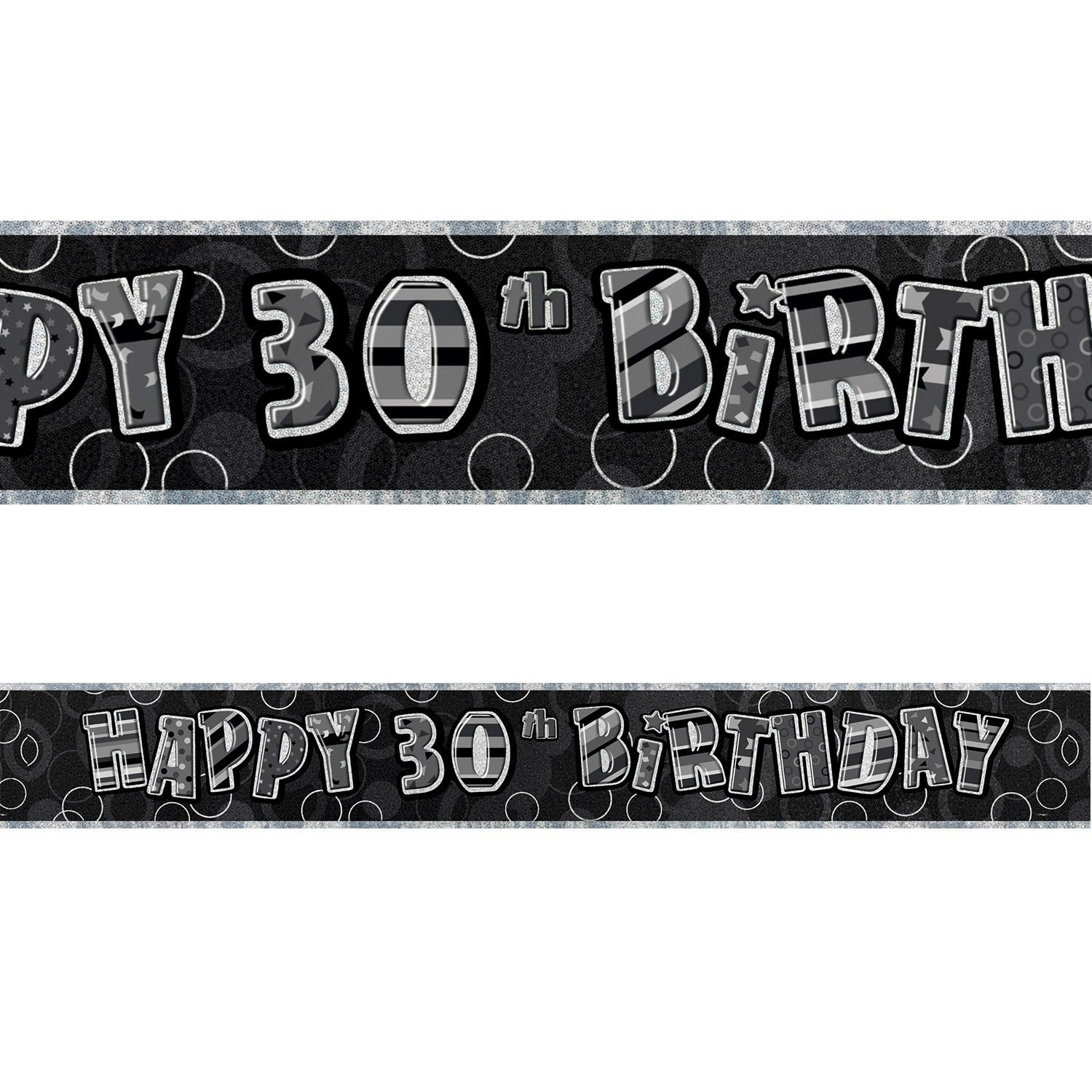 Black Glitz 30th Birthday Foil Banner 3.6m