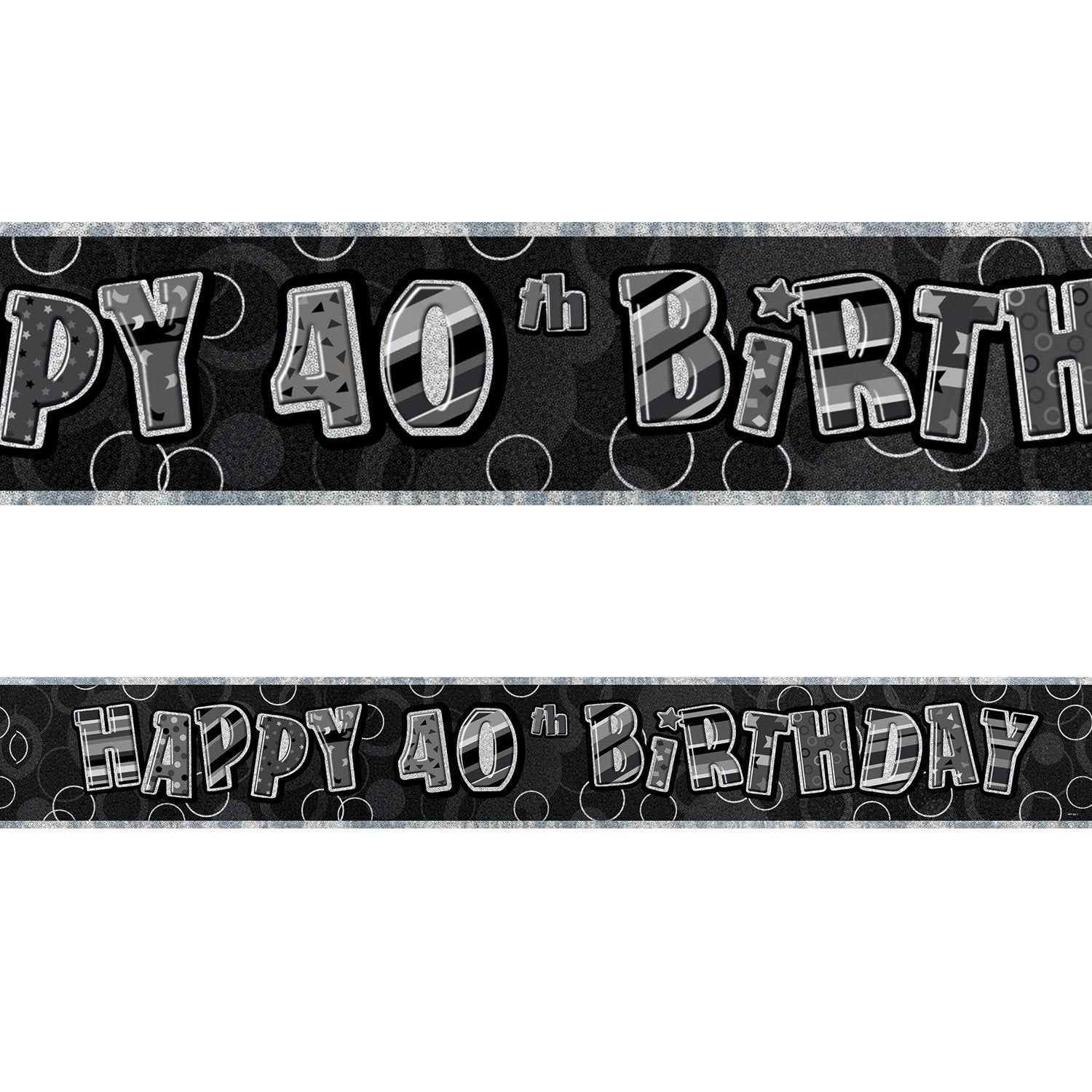 Black Glitz 40th Birthday Foil Banner 3.6m