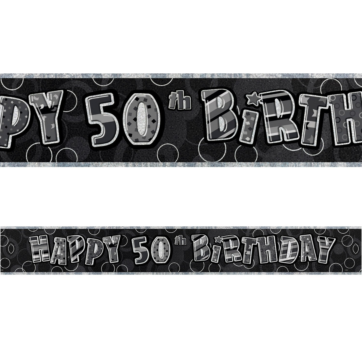 Black Glitz 50th Birthday Foil Banner 3.6m