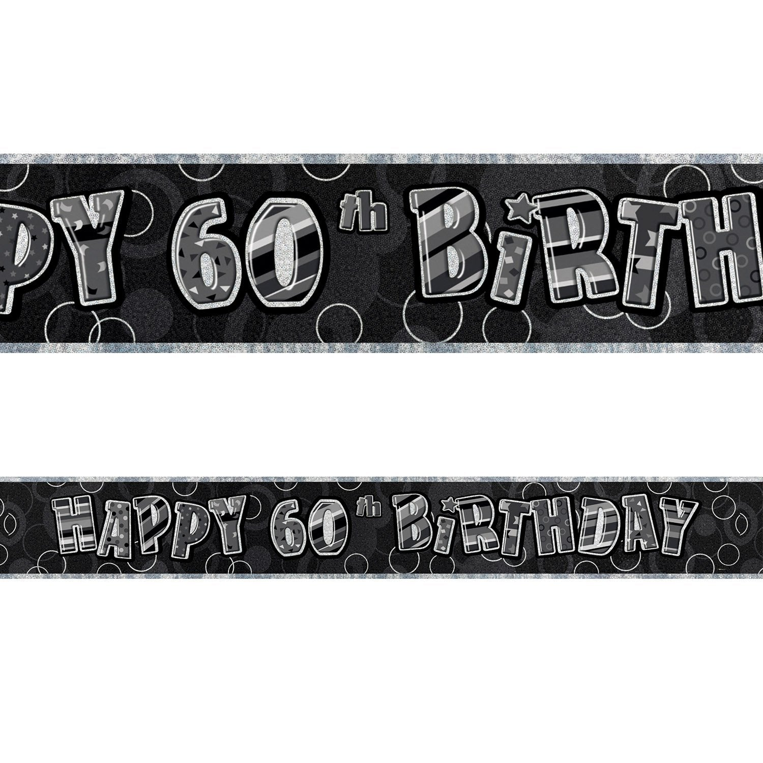 Black Glitz 60th Birthday Foil Banner 3.6m