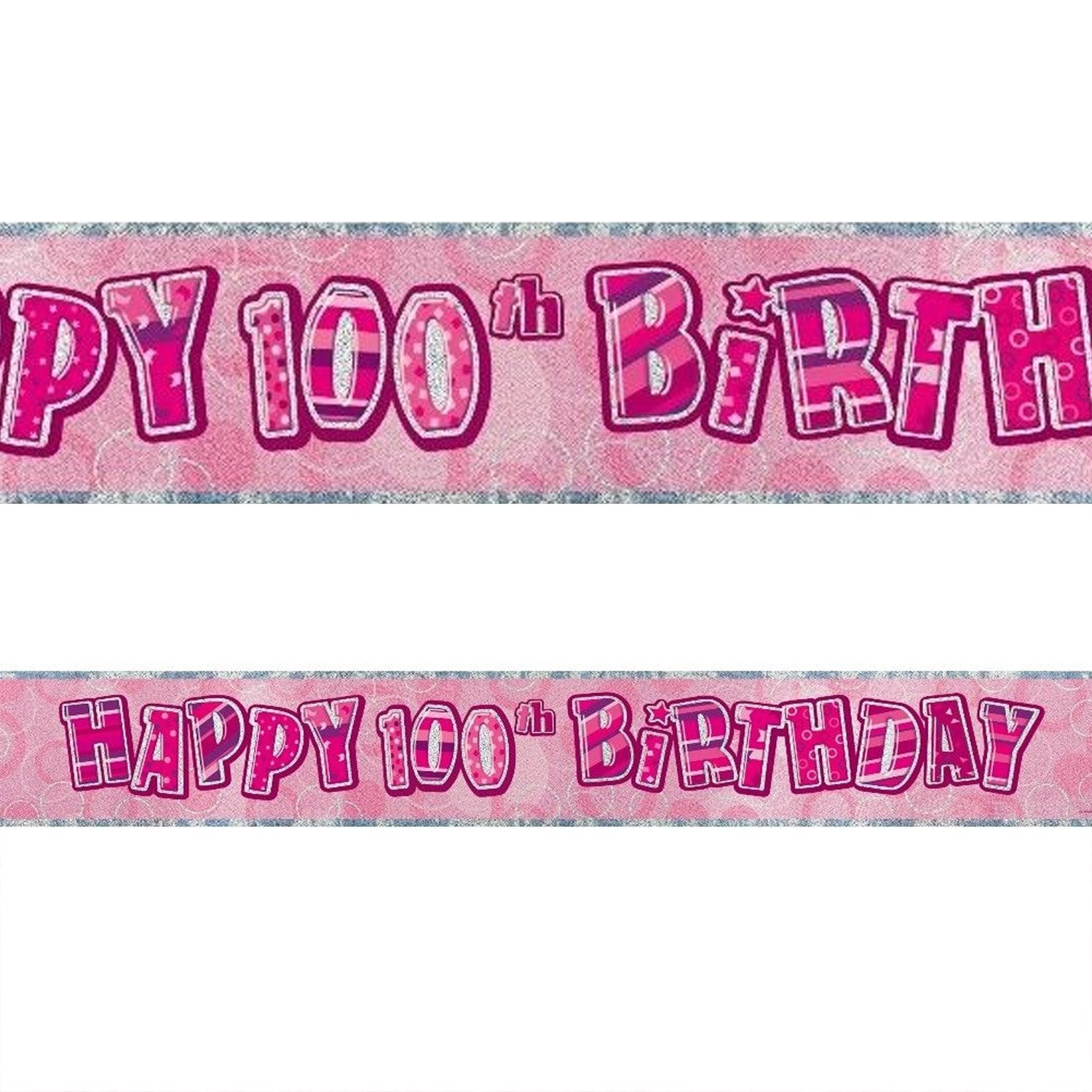 Black Glitz 100th Birthday Foil Banner 3.6m