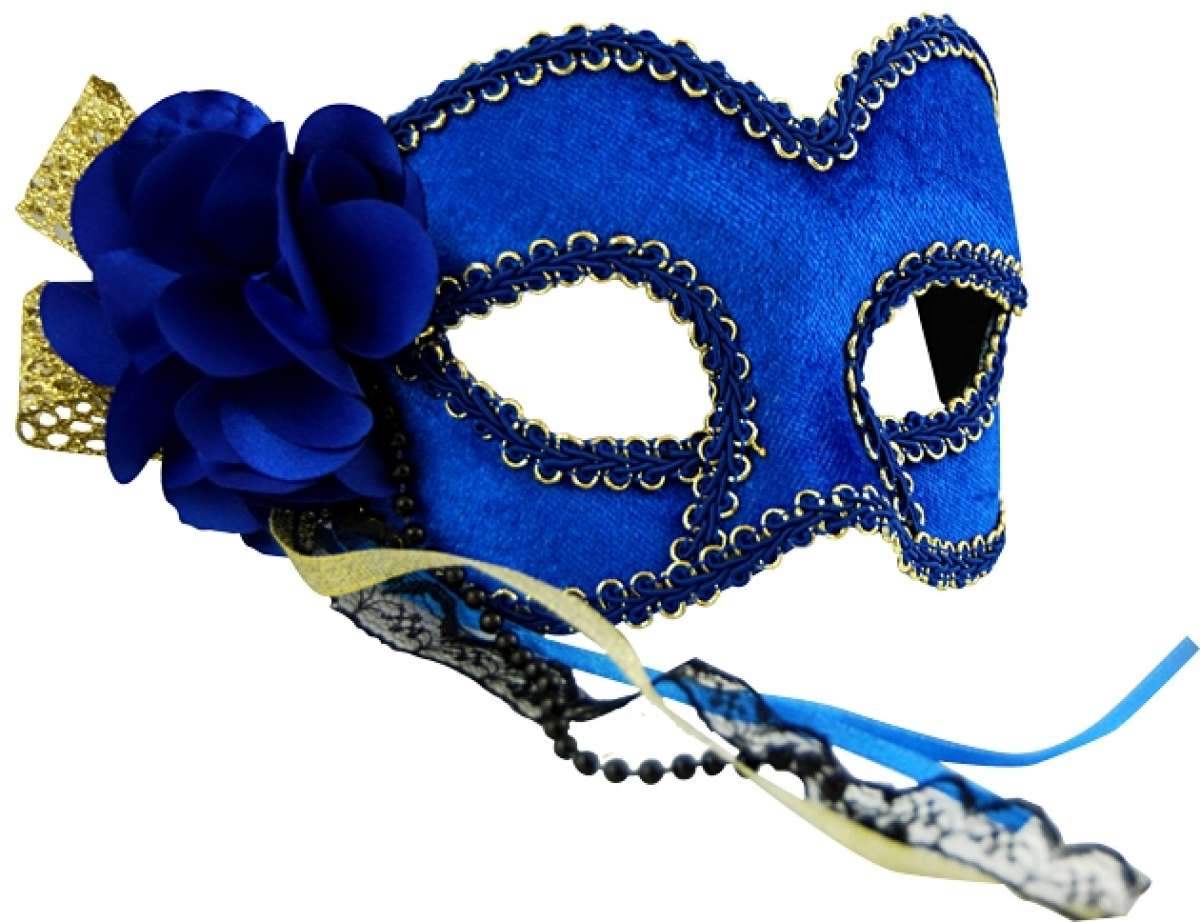 Blue Masquerade Mask with Flower