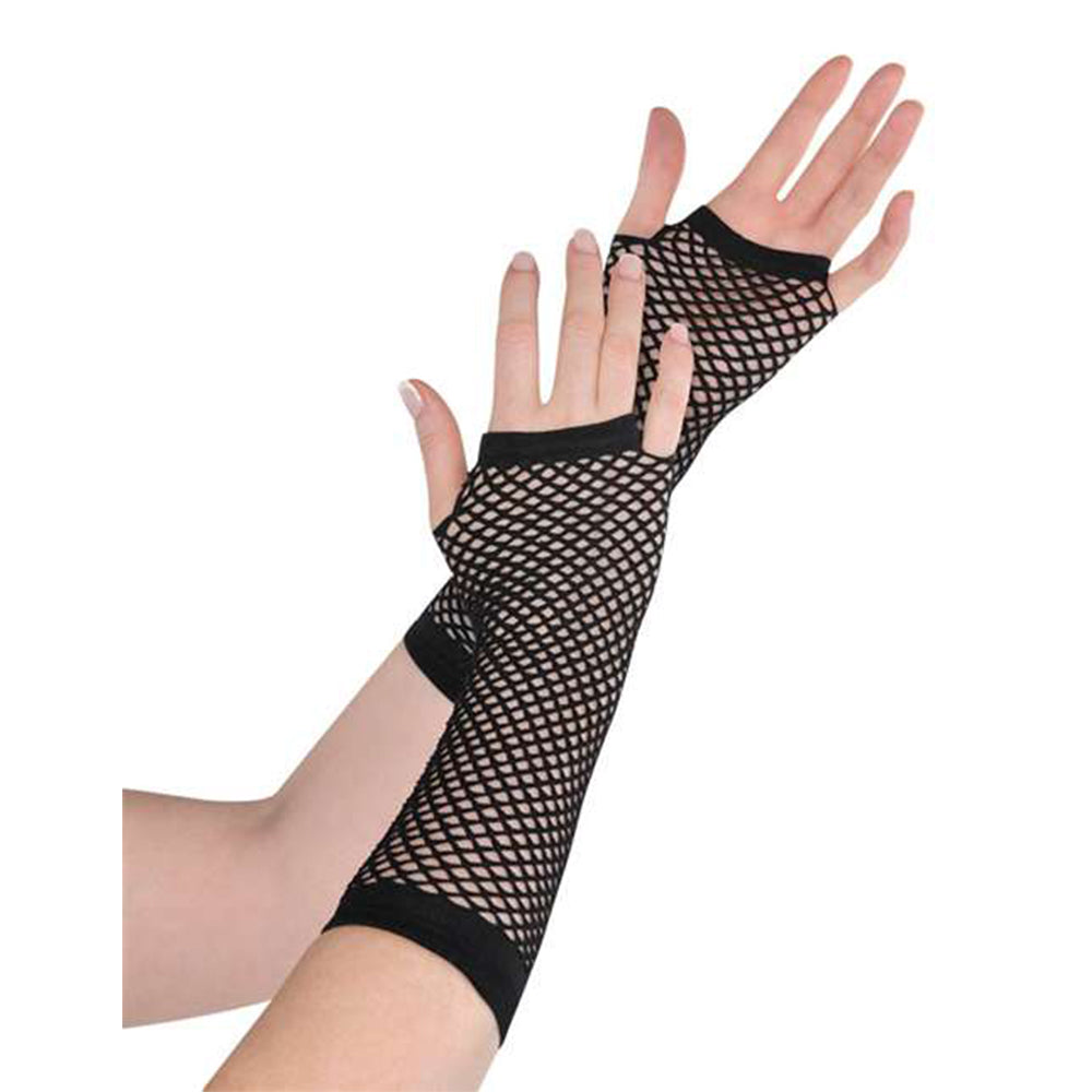 Black Fishnet Gloves Long