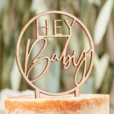 Botanical Baby Wooden Hey Baby Cake Topper 11.8 cm x 19.9cm - Party Savers