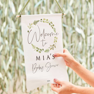 Botanical Baby Baby Shower Customisable Welcome Sign - Party Savers