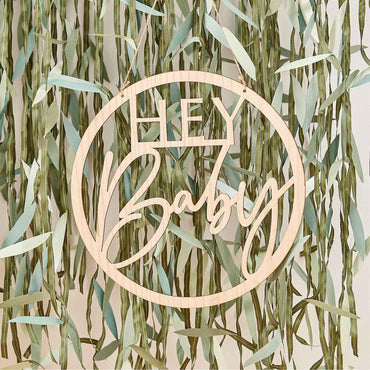 Botanical Baby Wooden Hey Baby Hoop Wreath - Party Savers
