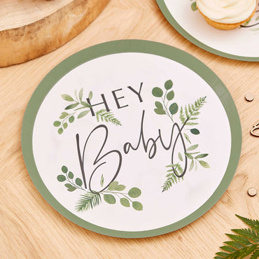 Botanical Baby Hey Baby Botanical Paper Plates 24cm - Party Savers