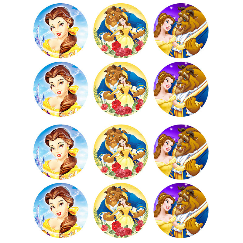 Beauty and the Beast Cupcake Edible Icing Image 6cm 12pk
