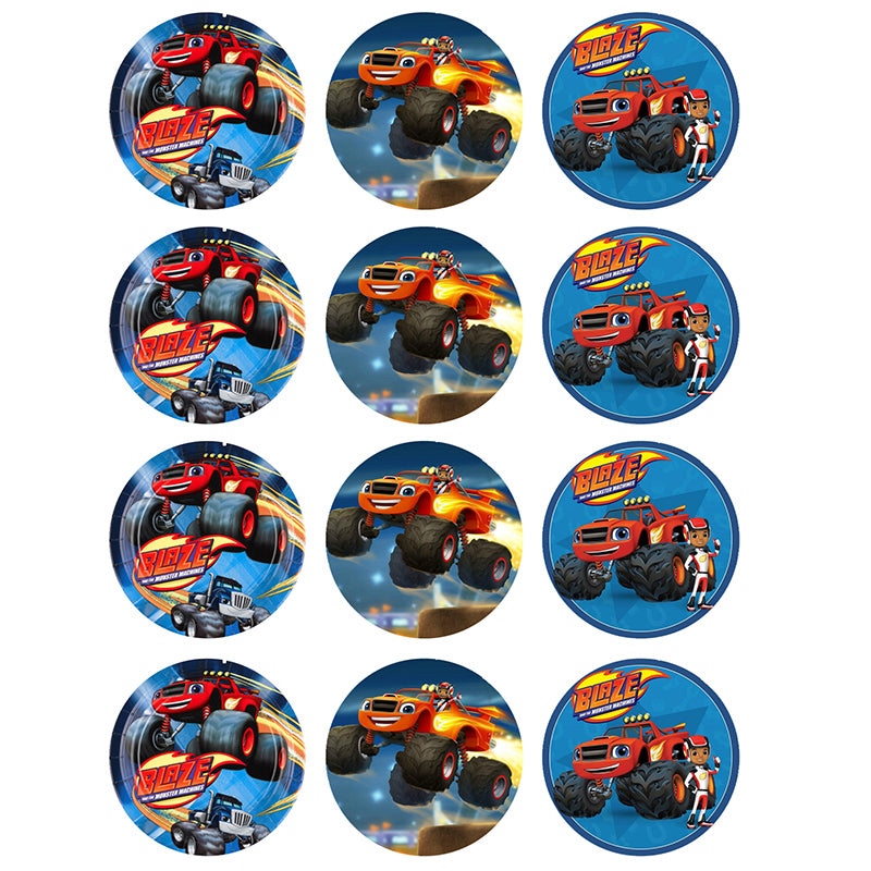 Blaze and the Monster Machines Cupcake Edible Icing Image 6cm 12pk - Party Savers