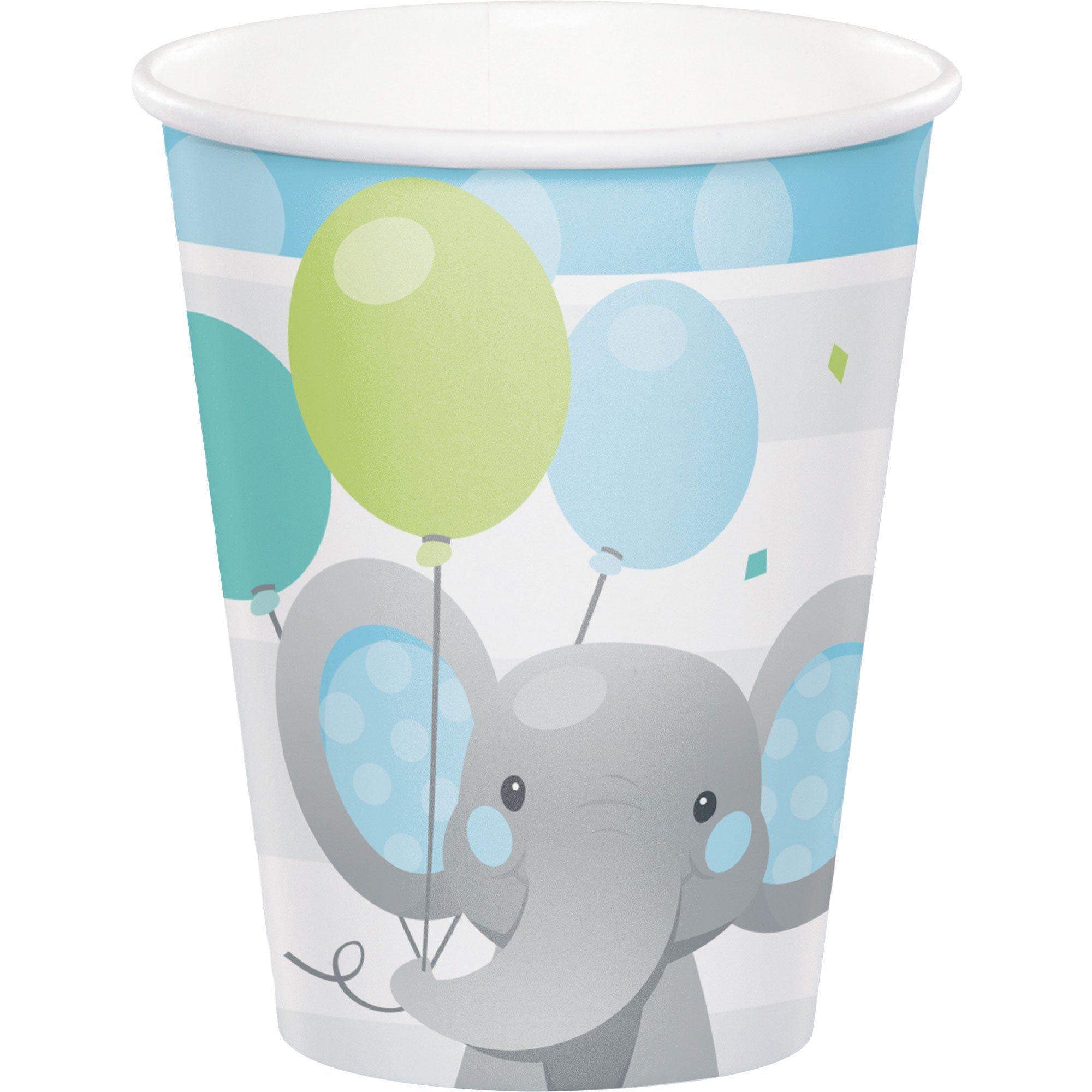Enchanting Elephant Boy Cups Paper 266ml 8pk - Party Savers