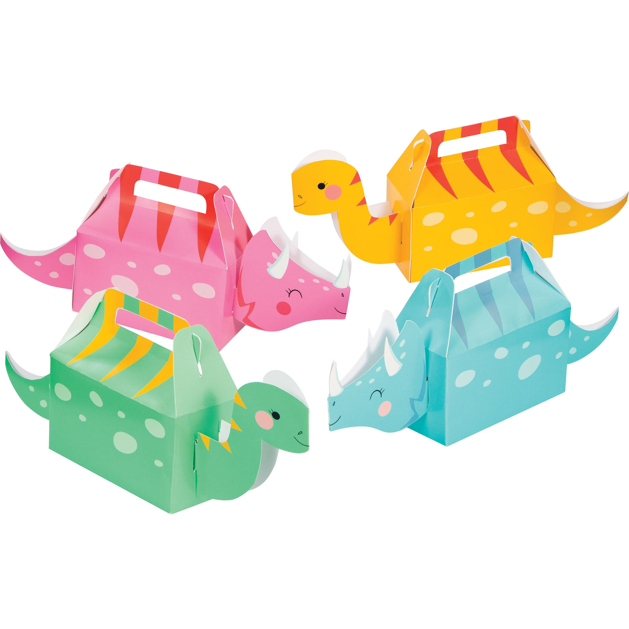 Girl Dino Party Decor Treat Boxes Cardboard 6cm x 31cm x 13cm 4pk - Party Savers