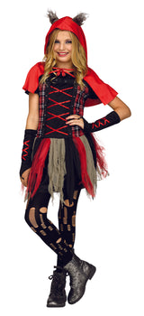 Girls Costume - Edgy Red Hood Wolf Tween