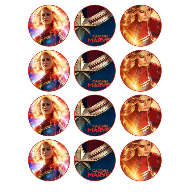 Captain Marvel Cupcake Edible Icing Image 6cm 12pk