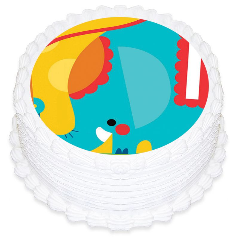 Fisher Price 1st Birthday Circus Round Edible Icing Image 19cm - Party Savers