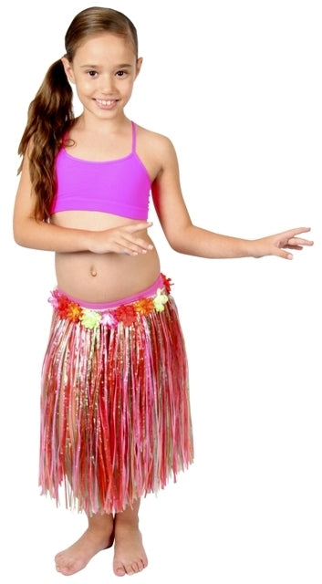 Childs Hula Skirt with Flowers - Party Savers