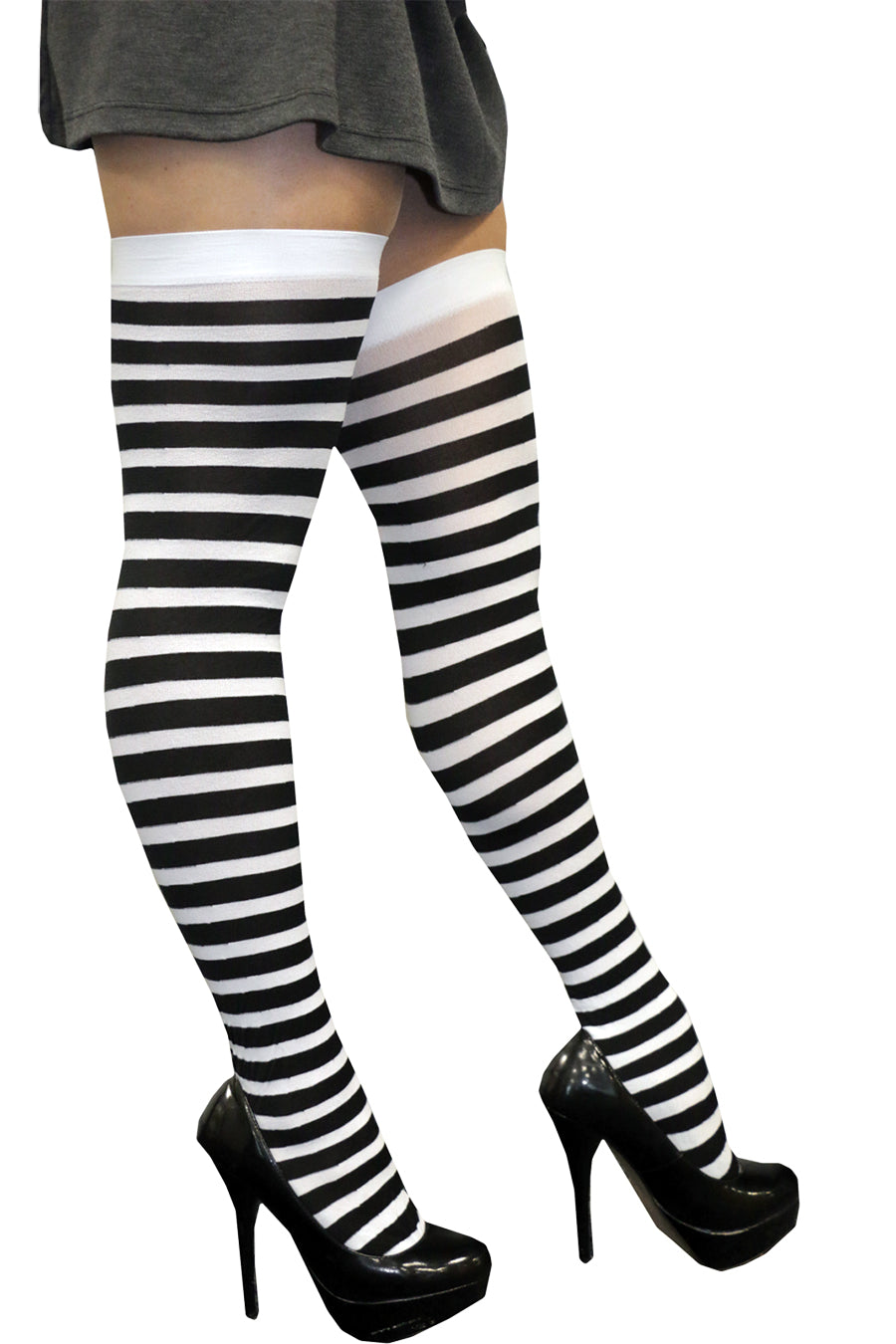 Black Knee High Stripy Sox - Party Savers