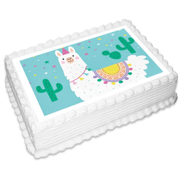 Llama Party Rectangle Edible Icing Image 25 x 19cm