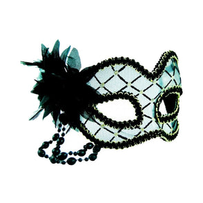 Black Masquerade Mask with Flower