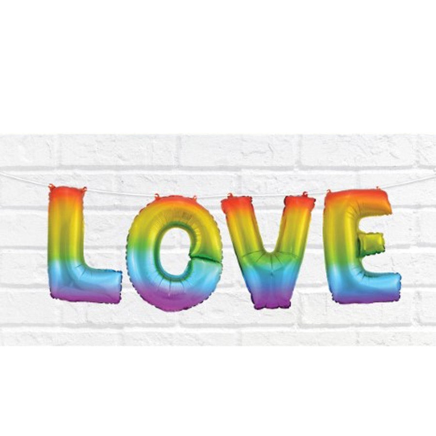 Love Rainbow Letter Foil Balloon - Party Savers