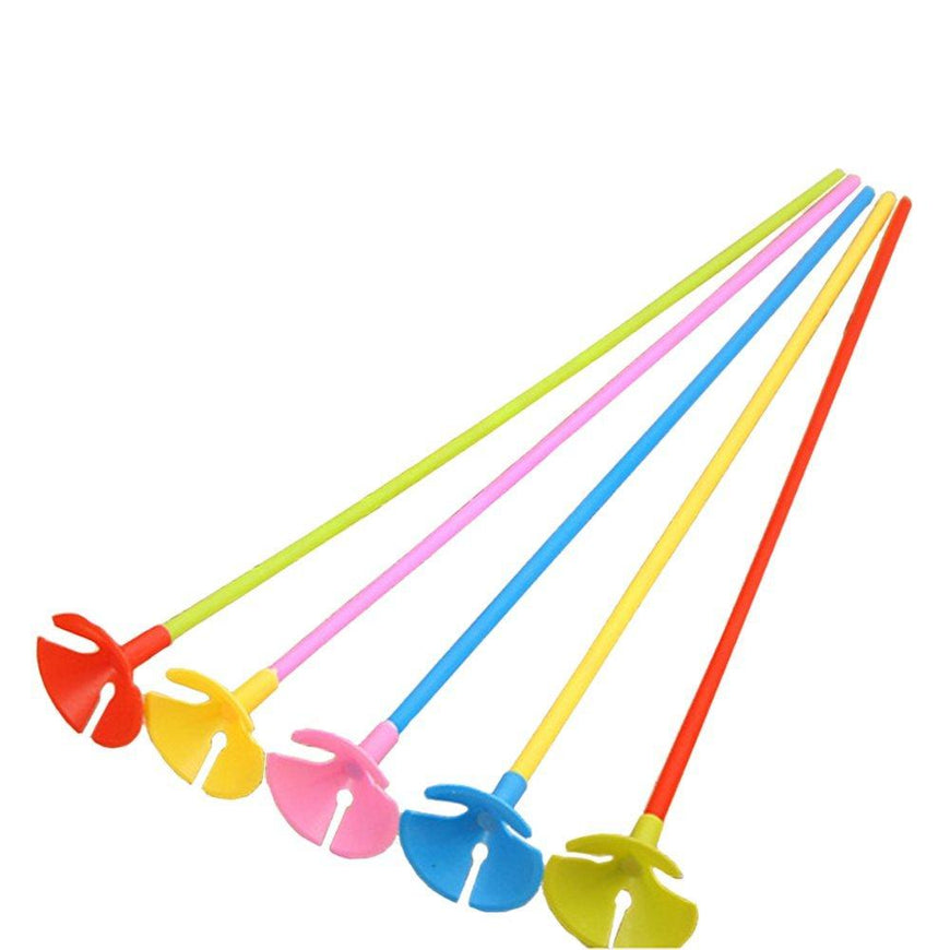 Coloured Balloon Sticks & Cups 6pk