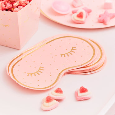 Pamper Party Gold Foiled And Pink Eye Mask Shaped Napkins 16cm x 10cm - Party Savers