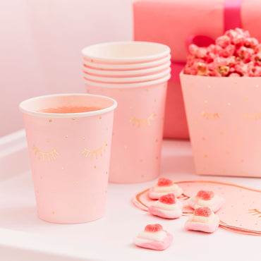 Pamper Party Gold Foiled And Pink Sleepy Eyes Paper Cups 8 cm W x 15 cm H - Party Savers