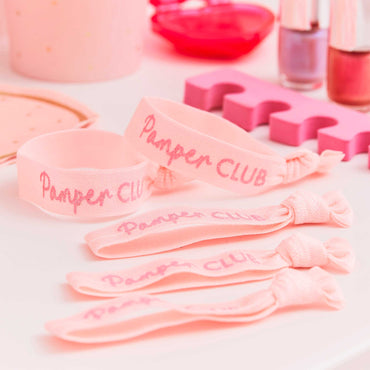 Pamper Party Pink Glitter Pamper Club Elastic Hair Ties - Party Savers
