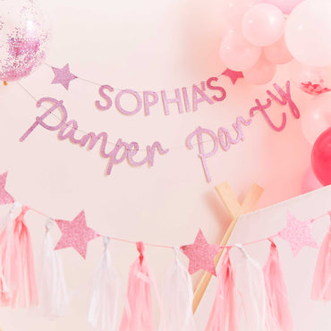 Pamper Party Pink Glitter Customisable Pamper Party Bunting - Party Savers