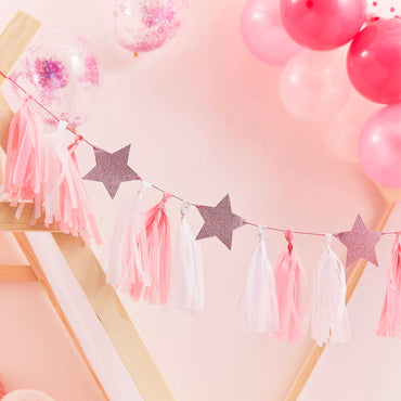 Pamper Party Pink Tassel Garland With Pink Glitter Stars - Party Savers