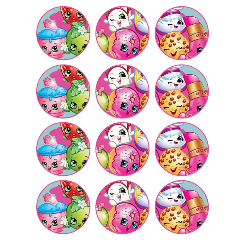 Shopkins Cupcake Edible Icing Image 6cm 12pk - Party Savers