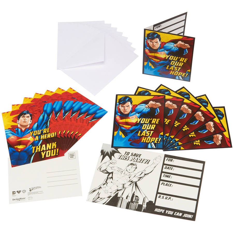 Postcard Invitations And Thank You Superman 8pk