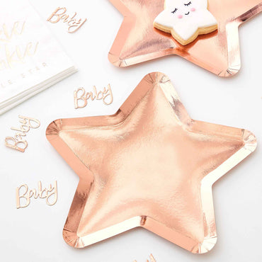 Twinkle Twinkle Paper Plates Star Shaped Rose Gold 23cm - Party Savers