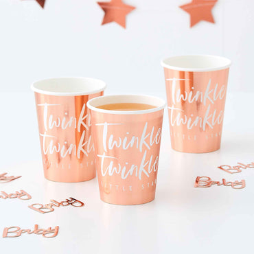 Twinkle Twinkle Paper Cups Rose Gold Foiled 9oz - Party Savers